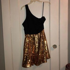 Black and Gold sparkle One Shoulder Dress
